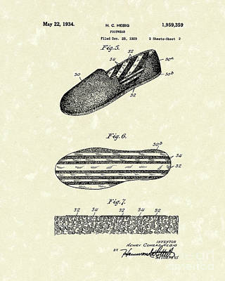 Shoe Drawing - Footware 1934 Patent Art by Prior Art Design
