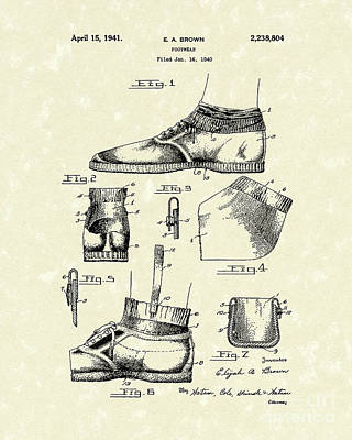 Drawing - Footware 1941 Patent Art by Prior Art Design