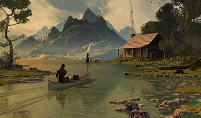 Canoe Digital Art - For All That I Can See by Dieter Carlton