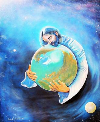 John 3.16 Painting - For God So Loved The World by Pauline L Genereux