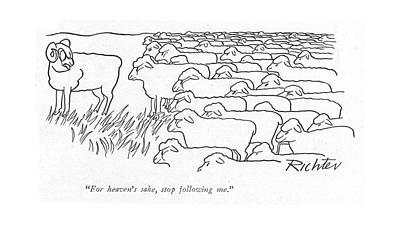 Ram Sheep Drawing - For Heaven's Sake by Mischa Richter