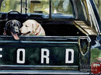 Truck Painting - For Our Retriever Dogs by Molly Poole