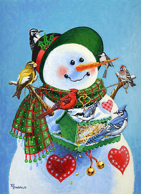 Snowwoman Painting - For The Birds by Richard De Wolfe