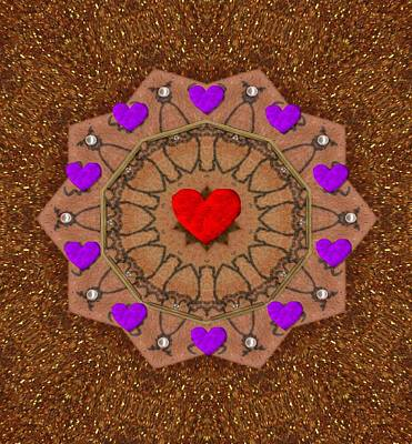 Contemplative Mixed Media - For The Love Of Hearts by Pepita Selles