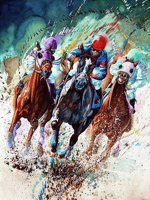 Horse Race Painting - For The Roses by Hanne Lore Koehler