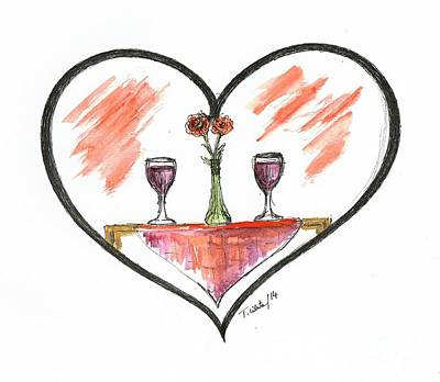 Table Wine Mixed Media - For Two by Teresa White