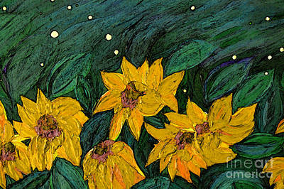 Digital Sunflower Painting - For Vincent By Jrr by First Star Art