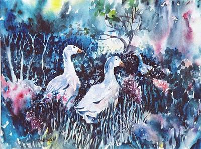 Art Print featuring the painting Foraging Ducks  by Trudi Doyle