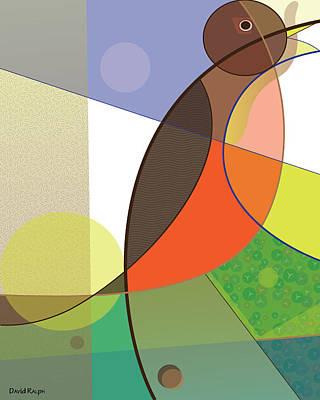 Digital Art - Foraging Robin by David Ralph
