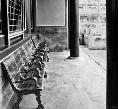 Photograph - Forbidden City - Benches by Nicola Nobile