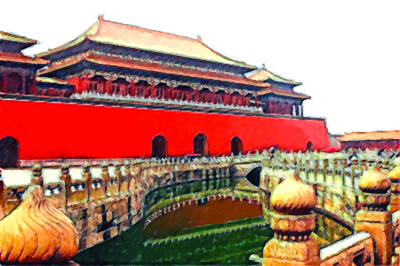 Axis Painting - Forbidden City In Beijing 1 by Lanjee Chee