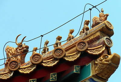 Art Print featuring the photograph Forbidden City Roof Adornment by Kay Gilley