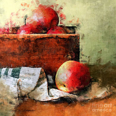 Painting - Forbidden Fruit - Still Life Of Red Apples In A Wooden Box by Susan Schroeder