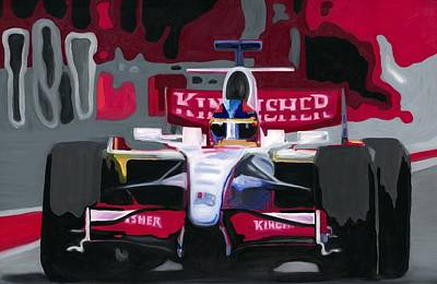 Painting - Force India Rising In F1 Monaco Grand Prix 2008 by Ran Andrews