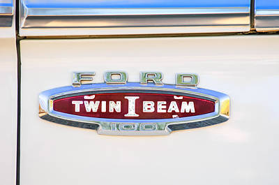 Old Ford Truck Wall Art - Photograph - Ford 100 Twin I Beam Truck Emblem by Jill Reger