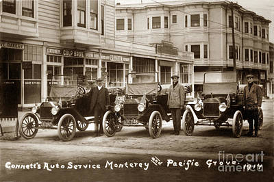 Photograph - Ford Autos Connetts Auto Service Monterey - Pacific Grove 1914 by California Views Archives Mr Pat Hathaway Archives