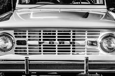 Antique Car Photograph - Ford Bronco Grille Emblem -0014bw by Jill Reger