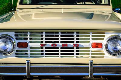 Car Photograph - Ford Bronco Grille Emblem -0014c by Jill Reger