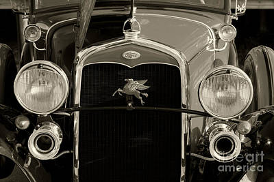 Horn Photograph - Ford Classic Car Automobile Grill In Sepia 3012.01 by M K  Miller