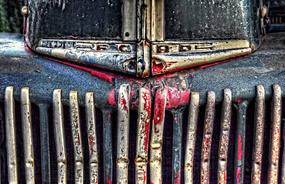 Photograph - Ford Dump Truck Grille by Ken Smith