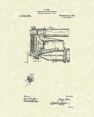 Drawing - Ford Engine Assembly 1919 Patent Art by Prior Art Design