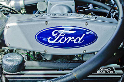 Engine Photograph - Ford Engine Emblem by Jill Reger