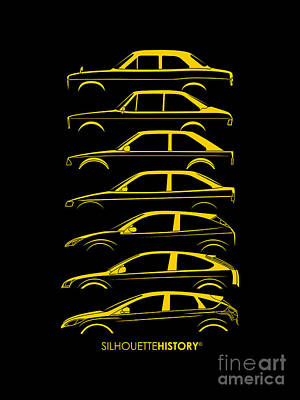 Focus Digital Art - Ford Escort And Focus Silhouettehistory by Gabor Vida