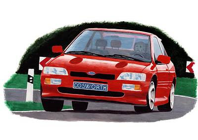 Painting - Ford Escort Rs Cosworth by Milan Surkala