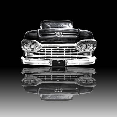Custom Hot Rod Photograph - Ford F100 Truck Reflection On Black by Gill Billington