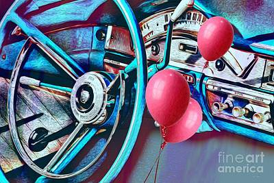 Photograph - Ford Fairlane 500 Dashboard- Warhol-esque by Liane Wright