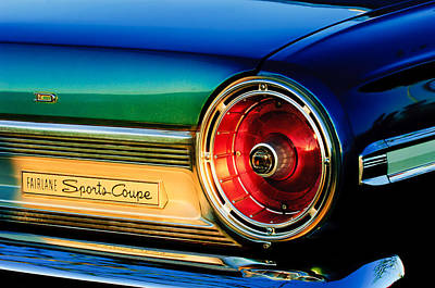Ford Fairlane Photograph - Ford Fairlane Sports Coupe Taillight Emblem by Jill Reger