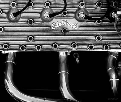 Monochrome Hot Rod Photograph - Ford Flathead-v8 by Steven Milner