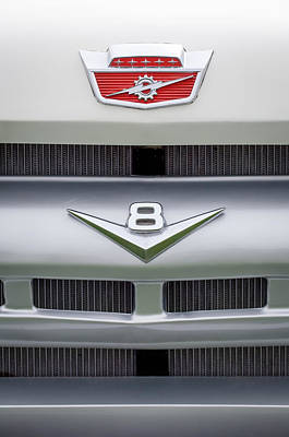 Ford Pickup Photograph - Ford Grille V8 Custom Cab Emblem  by Jill Reger