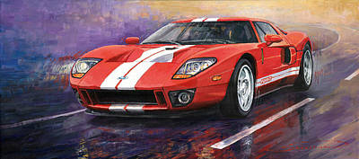 Cars Wall Art - Painting - Ford Gt 2005 by Yuriy Shevchuk