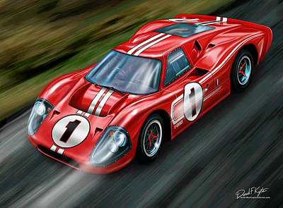 Gt40 Painting - Ford Gt-40 At Le Mans by David Kyte
