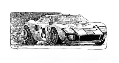 Car Drawing - Ford Gt - 40 by David Lloyd Glover