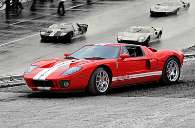 Ford Gt And Gt40 1966 Le Mans Win Art Print