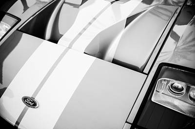 Photograph - Ford Gt Hood Emblem -0402bw by Jill Reger