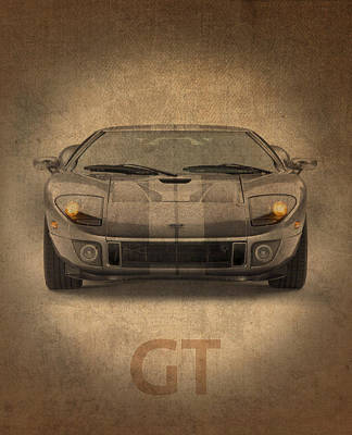 Race Mixed Media - Ford Gt Vintage Distressed Car Poster by Design Turnpike