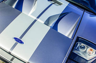 Car Photograph - Ford Gt40 Hood Emblem -0305c by Jill Reger