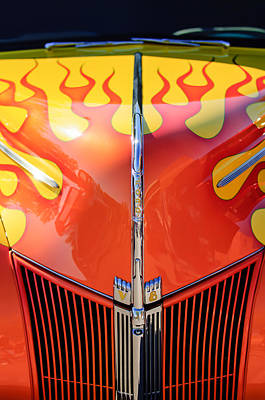 Ford Hot Rod Flamed Hood -264c Art Print