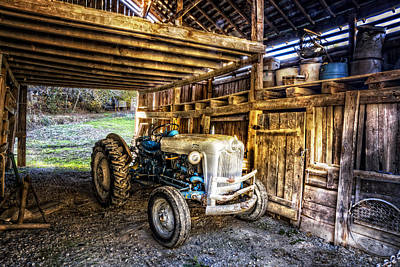 Farm In Woods Photograph - Ford In The Barn by Debra and Dave Vanderlaan