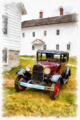 White Barn Photograph - Ford Model A Watercolor by Edward Fielding