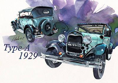 1929 Painting - Ford Model A by Yoshiharu Miyakawa