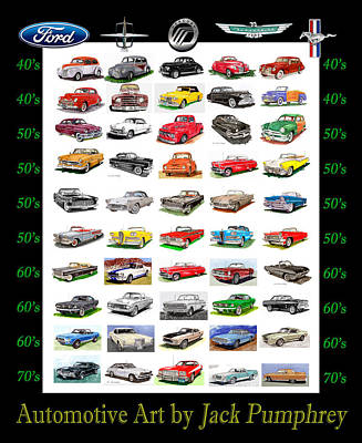 Car Art Drawing - Four Decades Of Fords Poster by Jack Pumphrey