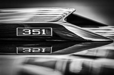 American Cars Photograph - Ford Mustang 351 Engine Emblem -1011bwq by Jill Reger