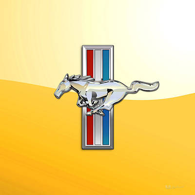 Ford Mustang - Tri Bar And Pony 3 D Badge On Yellow Original by Serge Averbukh