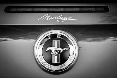 Photograph - Ford Mustang Gas Cap Emblem -0002bw by Jill Reger