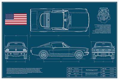 Ford Mustang Gt Fastback Blueplanprint Print by Douglas Switzer
