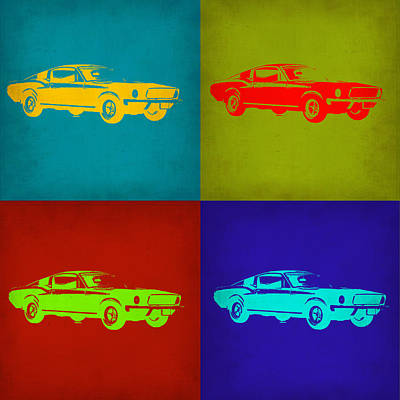 Vintage Car Painting - Ford Mustang Pop Art 1 by Naxart Studio